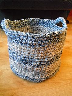 Crocheted basket made from old sheets - wonder if a rug would work?