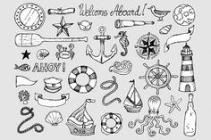 Nautical Theme 100% Hand Drawn Clip Art Set by Nedti They are great for logo design, stickers, t-shirt design, invitation design, poster, paper crafts, web design, blogging, collage sheet,