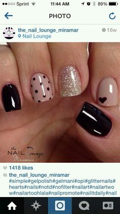 Nails gel, we adopt or not? - My Nails Black Gel Nails, Cute Acrylic Nails, Cute Nails, Uv Gel Nails, Nail Nail, Stiletto Nails, Heart Nail Art, Heart Nails, Stylish Nails