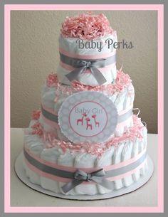 Pink and Grey Safari Diaper Cake. $45.00, via Etsy.