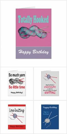 Greetings cards about crochet and knitting