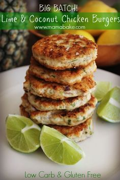 Lime & Coconut Chicken Burgers! Big Batch! Low Carb & Gluten Free! - MamaBake