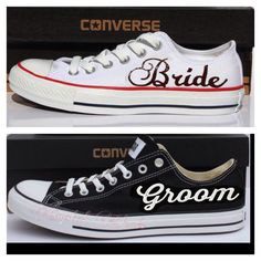 2 pairs bride and groom black & white Converse all star chucks sneakers tennis shoes hand made sparkly wedding mrs bride groom i do date by CrystalCleatss on Etsy
