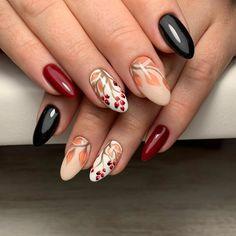 elegant autumn nail designs have to try - blackish green floral stiletto nails inspo 33 ~ Modern House Design Autumn Nails, Winter Nails, Great Nails, Love Nails, Long Nail Art, Uñas Fashion, Gel Nagel Design, Fall Nail Art Designs, Nails Only