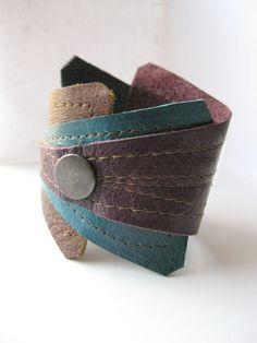 Arrow Cuff reclaimed leather triangle piece work cuff by Xappaland, $28.00
