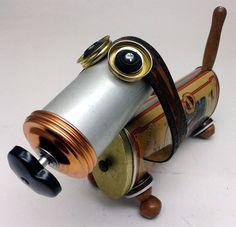 Spaghetti Assemblage Steampunk Wiener Dog Robot by DonLJones, $165.00
