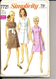 Vintage 1960's Women's Dress Pattern, Simplicity 7721 Sewing Pattern Size 16