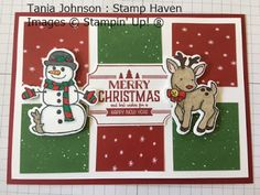 Tania Johnson : Stamp Haven, Independent Stampin' Up! Demonstrator, Onstage November 2017 Card Swap. #onstage2017 #loveitliveitshareit #seasonal Chums #christmas #cute #reindeer #snowman #card #homemade