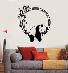 Wall Decal Funny Animal Panda Bamboo Japanese Decor Vinyl Stickers (ig2917)
