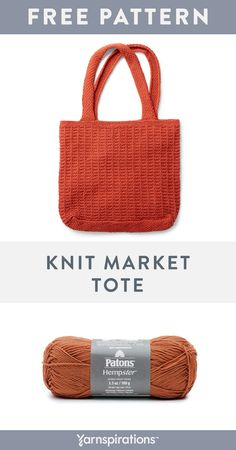 Knit a market tote using Patons Hempster, a cotton and hemp blend yarn that's strong and soft. This is the perfect pattern to work up for the summer markets! Loom Knitting, Knitting Patterns Free, Tote Pattern, Purse Patterns, Sewing Patterns, Easy Knitting Projects, Knitted Bags, Knit Bag, Knitting Accessories
