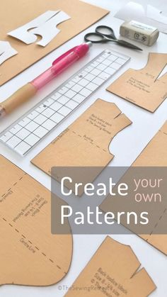 Pattern Drafting Tutorials, Sewing Tutorials, Small Sewing Projects, Sewing Hacks, Pattern Cutting, Pattern Making, Clothing Patterns, Sewing Patterns, Fashion Designing Course