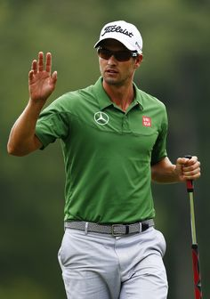 Adam Scott (golfer) Photos - Adam Scott of Australia reacts after putting on the fifth green during the second round of the Deutsche Bank Championship at TPC Boston on August 2013 in Norton, Massachusetts. - Deutsche Bank Championship - Round Two Mens Golf Fashion, Mens Golf Outfit, Golf Attire, Adam Scott Golfer, Famous Golfers, Golf Skirts, Stylish Mens Outfits, Play Golf, Golf 1