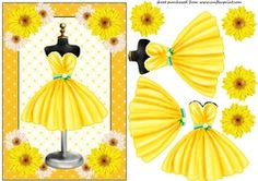 Yellow Floral Cocktail Dress Card Front