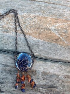 Copper wire woven bezel necklace with cobalt by MarielaCorteJewels