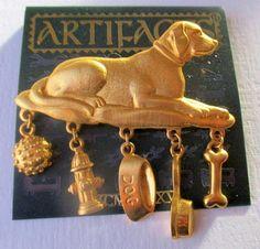 New so cute! #labrador retriever on pillow  gold tone pin/brooch Jonette jewelry w/5 dog charms! SALE