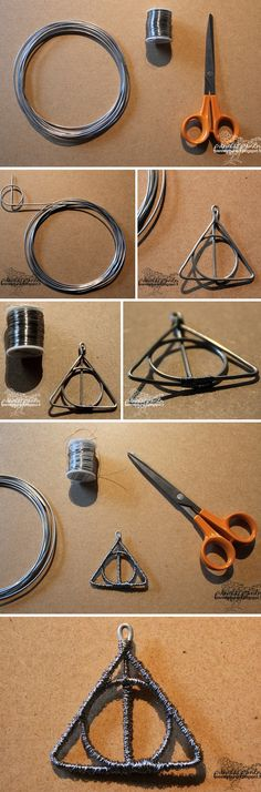 DIY Harry Potter Deadly Hallows pendant! Materials that I used: aluminum wire and silver-plated copper wire.  The original DIY instructions: http://pienivarpunen.blogspot.fi/2013/08/diy-riipuksia-alumiinilangasta-arvonta.html