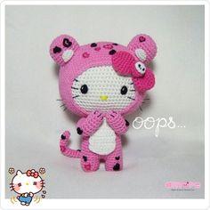 Amigurumi hello kitty dress as tokidoki pink leopard