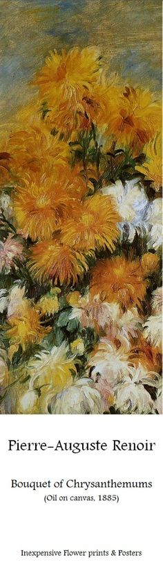Pierre Auguste Renoir - Bouquet of Chrysanthemums, dettaglio - 1881 - The Metropolitan Museum of Art, New York Pierre Auguste Renoir, Flower Prints, Flower Art, August Renoir, French Impressionist Painters, Renoir Paintings, Virtual Art, Poster Prints, Art Prints