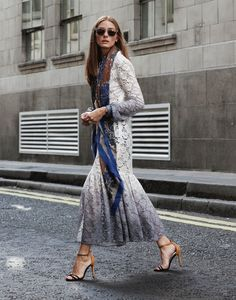 Hi everyone! For look 8 of my fashion week diary I'm wearing a beautiful long-sleeve ombre lace dress from Burberry Prorsum's Resort 2015 collection. I've accessorized it with Westward Leaning x OliviaPalermo.com sunglasses, a CH Carolina Herrera scarf, MAX&Co. belt and Schutz heels.