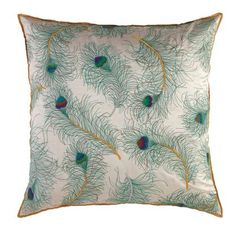 Peacock Pillows with gorgeous teal details sold at KVS  www.kvsinteriordesign.com/   (Interior Design)