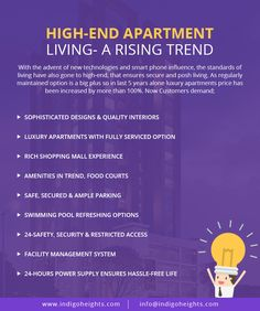 High-End Apartment Living- A Rising Trend.. #IndigoTrends #Indigoheights #Luxuryapartments #Securedinvestment #InvestmentLahore #Gulberg www.indigoheights.com