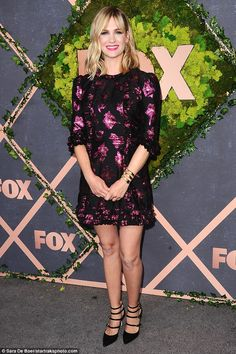 Fox-y lady: January Jones stole the show in a flattering gown as she starred at the Fox fall premiere party