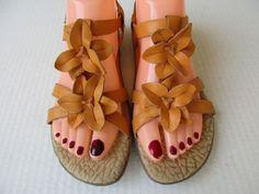 Born Concept women sandals size 7 Orange Leather Born #Brn #Strappy #Casual