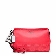 Coach - Legacy Perf Leather Large Wristlet Sv/watermelon/snow
