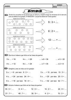 Resumen práctico para enseñar como hacer las divisiones y fichas para trabajar la división para alumnos de primaria.