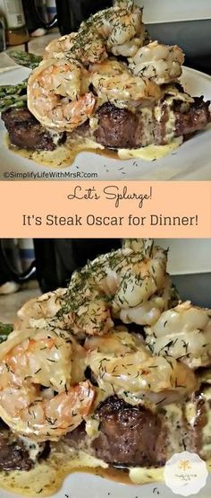 2 Ribeye steaks. 1 lb Shrimp, wild caught. 1 tsp Dill. 3 cloves Garlic. 1 1/2 Lemons, Juice of. 1 Shallot, thin. 3 Egg yolks. 1 dash Cayenne. 2 Salt and pepper. 1 pinch Sugar. 1 tbsp Butter. 1 1/2 sticks Butter. 1 1/2 cups White wine.