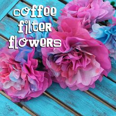 Make the perfect wreath for Spring! With Coffee Filter Flowers! If you missed the filter dying and flower making tutorial, scro. Coffee Filter Wreath, Coffee Filter Crafts, Coffee Filter Flowers, Coffee Filters, Paper Flower Tutorial, Paper Flowers Diy, Flower Crafts, Diy Paper, Tissue Paper