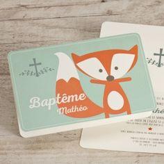 Carte baptême et renard