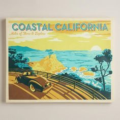 One of my favorite discoveries at WorldMarket.com: Vintage-Style  Coastal California Poster