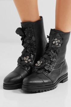Jimmy Choo - Havana Embellished Appliquéd Textured-leather Boots - Black - IT