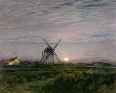 poboh:    Moonrise on The Windmill, Jean-Charles Cazin. French (1841 - 1901)
