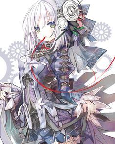 Anime picture with clockwork planet ryuzu tagme (artist) shino (eefy) long hair single tall image looking at viewer fringe green eyes white hair holding light smile mouth hold pale skin transparent background girl hair ornament thread gears Anime Chibi, Kawaii Anime, Fan Art Anime, Anime Artwork, Ryuzu Clockwork Planet, Anime Style, Anime Cosplay, Character Art, Character Design