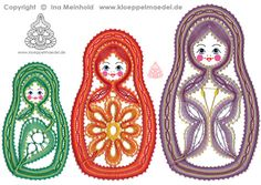 3 Matrjoschkas M Letter, Bobbin Lace Patterns, Lacemaking, Point Lace, Hobbit, Diy And Crafts, Crochet Earrings, Lettering, Denmark