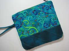 Zippered Clutch, Quilted Wristlet, Cell Phone Purse, Teal and Green Modern Scroll , Quiltsy Handmade by VillageQuilts on Etsy