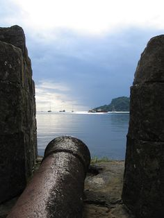 Portobelo, Colón, Panama where a cannon sits in it's original position from more than 600 years ago.