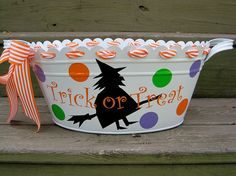 Personalized Halloween tubs-many designs available on Etsy, $31.00
