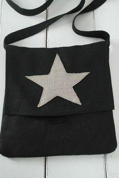 Tähtikassi, BLACK - Pellavakassit - By Pia's Design