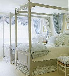 South Shore Decorating Blog: Love this blue and white bedroom & the beds