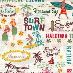 Trans Pacific Textiles House Designer - Conversationals - Surfs UP in Cream