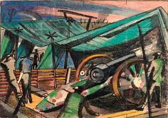 'A Howitzer Firing', 1918, by Paul Nash.  A scene with four British artillerymen firing a Howitzer gun. They stand beneath a canopy of camoflage netting. To the right a blast of light erupts from the muzzle of the gun, and the men on the left shield their faces from the brightness.