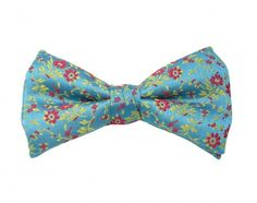Ready Tied Bow Tie Floral Design on a Turquoise Background