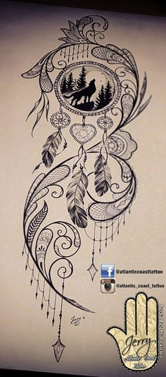 Beautiful tattoo idea design for a thigh, dream catcher tattoo, wolf tattoo ideas. By dzeraldas jerry kudrevicius from Atlantic Coast tattoo. Pretty detail mandala style, lace tattoo design