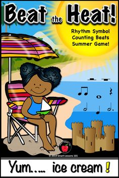 Summer Music Game: Beat the Heat Note Value Music Game: Rhythm Symbol Counting Music Sub Plans, Music Lesson Plans, Music Lessons, Music Theory Games, Music Games, Rhythm Games, Music Activities For Kids, Music For Kids, Elementary Music