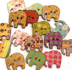 Elephant Buttons - Wood Set of 6