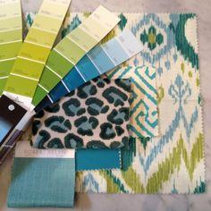 Meredith Heron Design  #Boston  Breakfast Room Fabric scheme  Ikat  Leopard  Turquoise