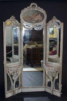 tri fold mirror on pinterest vanities vintage vanity and mirrors. Black Bedroom Furniture Sets. Home Design Ideas
